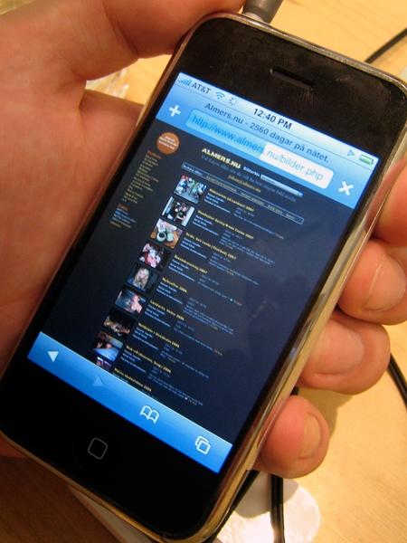 Testar sajten på Iphone